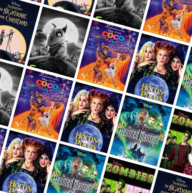 une collection d'affiches de films montrant des zombies hocus pocus le manoir hanté et plus