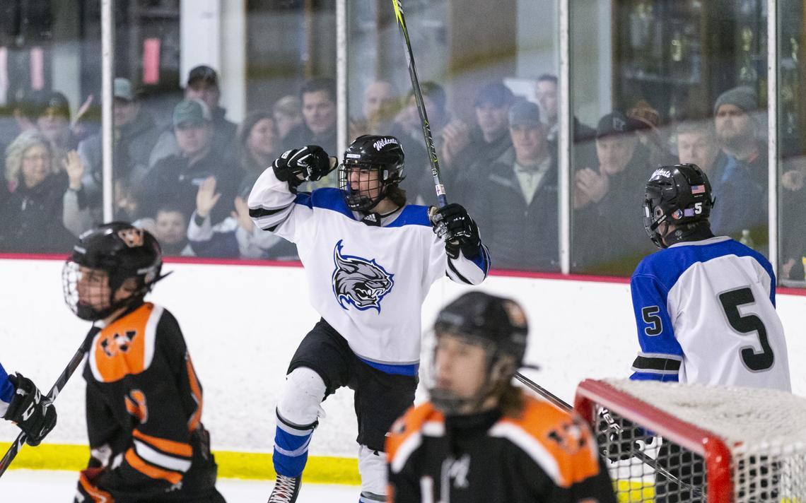 Matt Donovan, de Dodge County, applaudit après avoir marqué un but lors d'un quart de finale de hockey de la section 1AA la saison dernière au Dodge County Ice Arena de Kasson.  (Photo du fichier Post Bulletin par Traci Westcott)